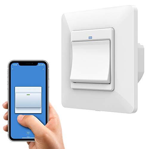 Orbecco Interruttore luci WiFi con 1 Pulsante 1 Compatibile con Alexa, Google Home, Controllo Vocale, Spia luminosa, Telecomando APP, Impostazione Timer,Light Switch- Bianco