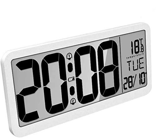 Orologio da parete digitale di grandi dimensioni Battery-MQUPIN Orologio da parete LCD da 14 '' extra da scrivania con impostazione automatica dell'ora Volume regolabile di due allarmi