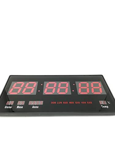 Orologio Digitale A Led Da Parete + Datario + Termostato Slim Data E Temperatura