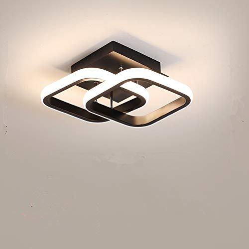 Osairous Plafoniera a LED, Lampada da soffitto moderna 22W, Lampadario nero acrilico a 2 LED quadrati, plafoniera da incasso per sala da pranzo, cucina studio, luce bianca fredda / 6000K Diametro 24CM