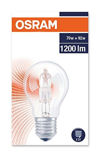 Osram Classic A Eco 64547 A CLA - Lampadina alogena, 70 W, quasi 100 W, E27, 230 V, luce bianca calda