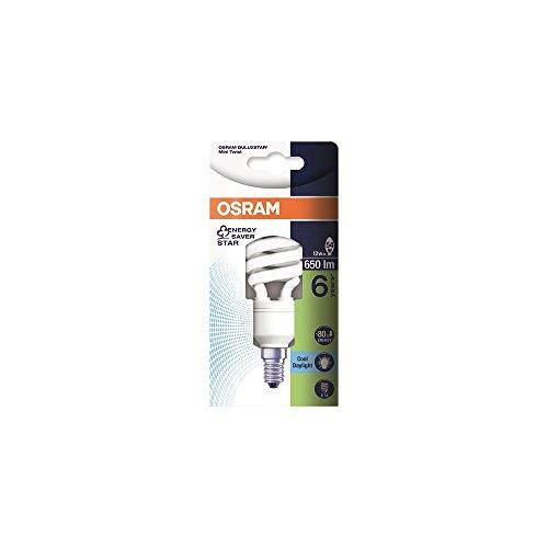 Osram Lampada Fluorescente Compatta E14, 12 W, Bianco Freddo, compatto fluorescente, a spirale