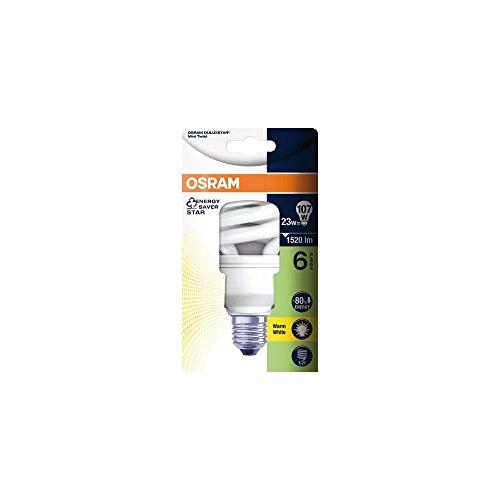 Osram Lampadina fluorescente compatta a risparmio energetico Dulux Twist, E27, 23W, luce calda, compatto fluorescente, a spirale