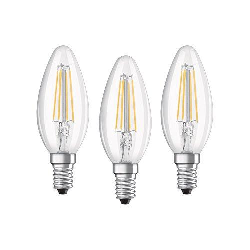 Osram Lampadine LED Candela, 4W Equivalenti 40W, Attacco E14, Cool white 4000K, Confezione da 3