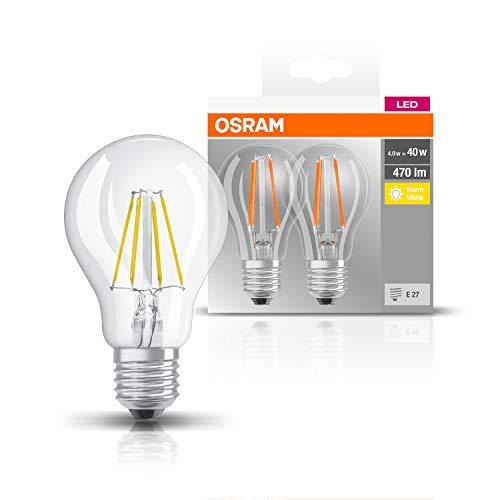 Osram Lampadine LED tutto vetro a filamento E27, =40W, luce calda, 2 Unità