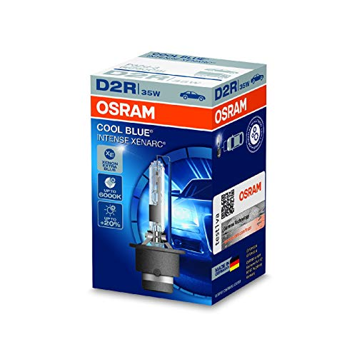 OSRAM XENARC COOL BLUE INTENSE D2R Lampada per proiettori allo Xeno 66250CBI 20% di luce in più, 6000 K - Confezione singola