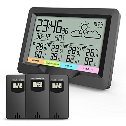 Oule GmbH, stazione meteorologica a radiofrequenza con 3 sensori esterni, termometro, igrometro, misura temperatura interna ed esterna e umidità dell'aria, radiosveglia