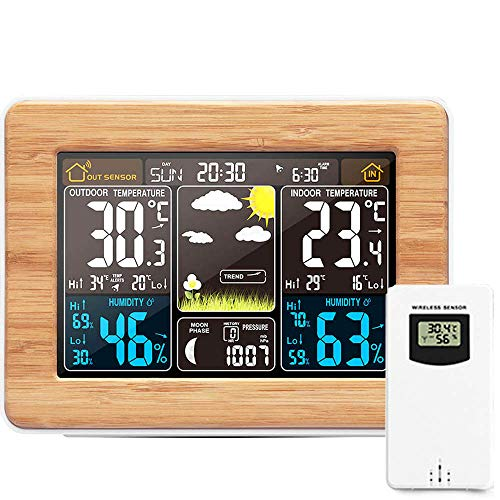 OurLeeme Stazione meteorologica Wireless, previsioni digitali Indoor Outdoor Termometro Temperatura umidità Allarme Meteo Orologio 3 Livelli Retroilluminazione (Giallo)