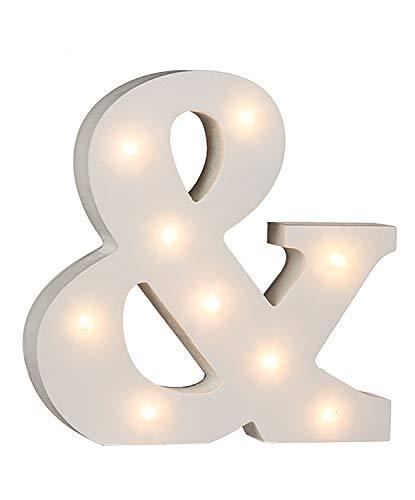 Out of the blue Cartello in legno & illuminato con 9 luci LED, funzionamento a batteria, circa 16 cm. 1 W, bianco, 16 x 3 x 16 cm