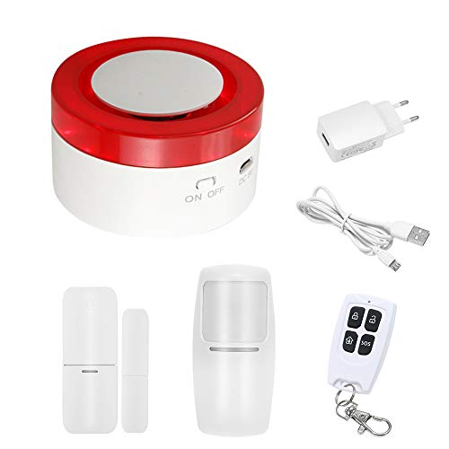 OWSOO 433MHz Wireless WIFI Gateway Host & Siren 2 in 1 WiFi Intelligente Allarme di Sicurezza del Sistema del Sensore del Sensore di Movimento PIR APP Controllo Remoto Compatibile con Amazon Alexa