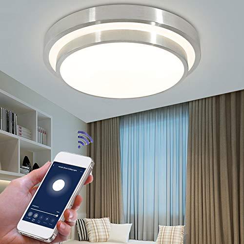 OWSOO Plafoniera LED soffitto WiFi,48W Luci LED dimmerabili a variazione Continua, App Telecomando Funzione di temporizzazione,Controllo vocale Compatibile con Amazon Alexa/Google Home/IFTTT