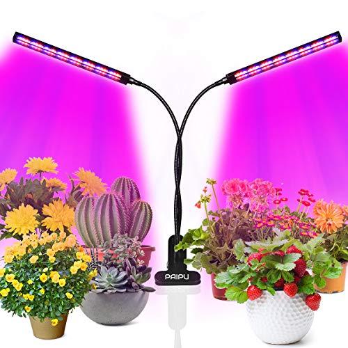 PAIPU Lampada per Piante Indoor, Lampada LED Coltivazione, Grow Light con Timer 3/6/12 Ore, Intensità della Luce Regolabile, per la Crescita delle Piante, La Fioritura e La Fruttificazione