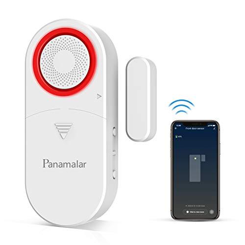 Panamalar Sensore per Porte e Finestre Wifi Sistema di Allarme Porta, Allarme Acustico 110dB, Rilevamento Intelligente Dello Stato Della Porta, Invia Avviso al Telefono, Funziona con Alexa Google Home