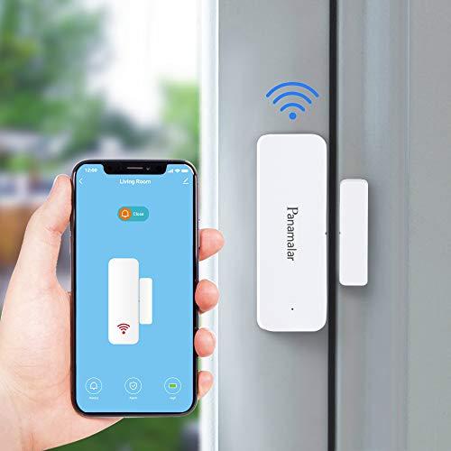 Panamalar Sensore per porte e finestre Wifi,rilevamento Intelligente dello stato della porta, invia avviso al telefono,funziona con Alexa Google Home, accessorio per dispositivo smart home con scena