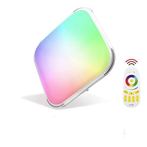 Papasbox - Plafoniera a LED, 64 W, LED RGB dimmerabile, 2700 K-6500 K, con telecomando, IP44, quadrata, piatta, per camera da letto, soggiorno, cucina, camera dei bambini