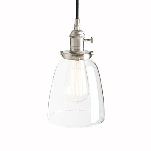 Pathson - Lampadario a sospensione in vetro dal design retrò, lampada a sospensione, in vetro trasparente con ottone anticato (colore acciaio inox spazzolato)