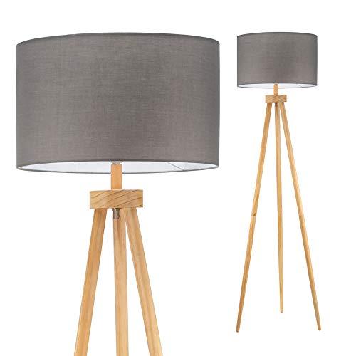 Pauleen 48109 Grand Coziness Lampada da Terra Max. 20W E27 230V Tessuto, Grigio, Legno