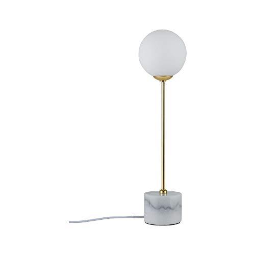 Paulmann 79661 Neordic Moa Lampada da Tavolo Max Globe-Warehouse Lampada da Tavolo G9, 230 V, In Vetro E Marmo, Senza Lampadina, 1 x 10 W, Bianco/Oro Opaco