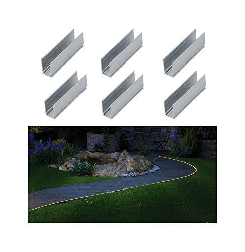 Paulmann 94215 Plug & Shine Strip Neon 6 clip di montaggio per esterni bianco luce da giardino alluminio lampada da giardino