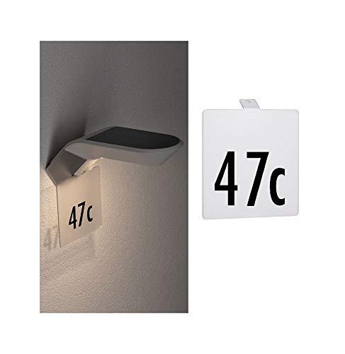 Paulmann 94253 Targhetta Numero Civico Per Outdoor Solar Lampada da Parete Soley Accessorio In Metallo Bianco, 0 W