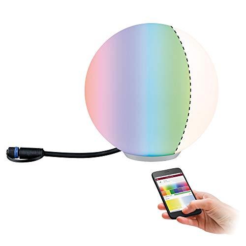 Paulmann 94269 Plug & Shine LED apparecchio per esterni ZigBee Globe RGBW incl. 1 oggetto luminoso dimmerabile da 2,8W IP67 bianco 3000K 2.8 W, Piccolo