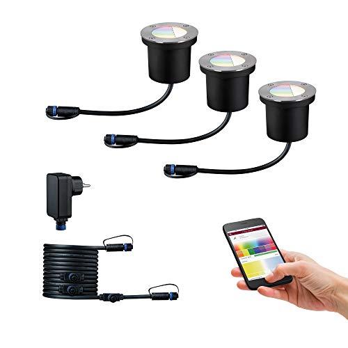 Paulmann 94275 Plug & Shine LED apparecchio per esterni ZigBee incl. 3 apparecchi da incasso a pavimento starter set RGBW dimmerabile da 3,6 Watt IP65 argentato illuminazione da giardino bianco caldo