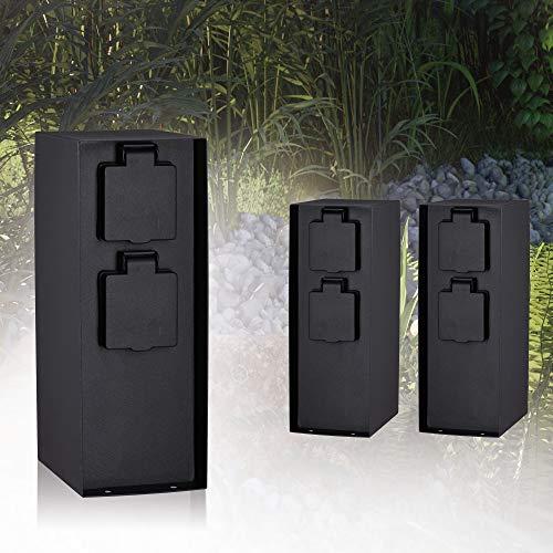Paulmann 94313 Colonna con prese elettriche Outdoor RIO 4 prese max. 3650 Watt illuminazione per esterni antracite illuminazione da giardino acciaio inox comando