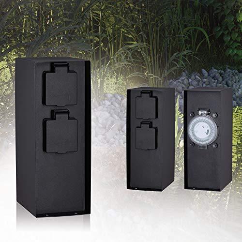 Paulmann 94314 Colonna con prese elettriche Outdoor RIO 2 prese max. 3650 Watt timer illuminazione per esterni antracite illuminazione da giardino acciaio inox comando