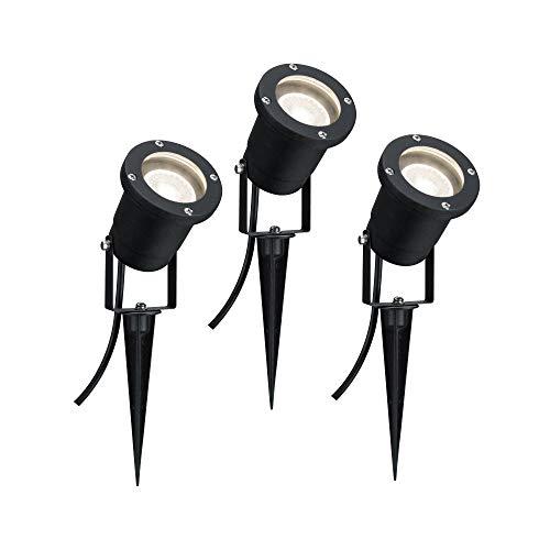 Paulmann 988.97 Illuminazione da Esterno Paletto da Giardino, Set di Spotlight Ip44Gu103 x 3.5W 230V 3000K, Alluminio, 3.5W, Nero, 32 x 9.2 x 32cm