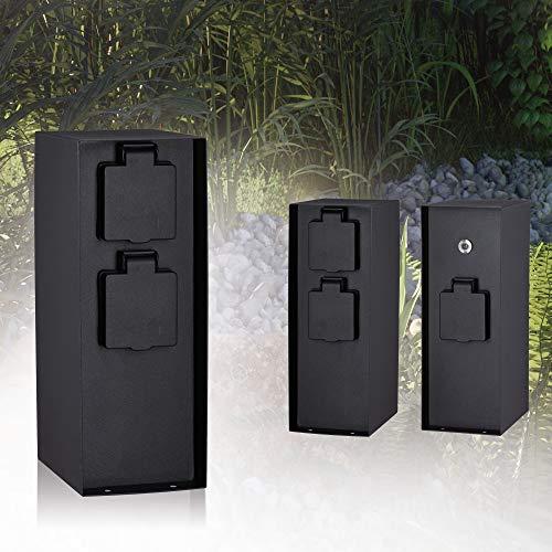 Paulmann Garden Outlet 94315 Colonna elettriche Outdoor Rio 3 Prese Max. 3650W sensore crepuscolare Illum. per Esterni Antracite