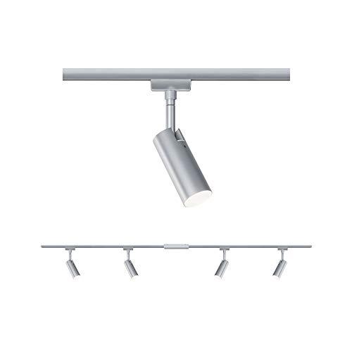Paulmann LED Sistema a Binario URail Set Tubo, orientabile, faretto a soffitto 4 fuochi, 3000K Bianco Caldo, 5 W 20 W, Cromo Opaco, Cromo