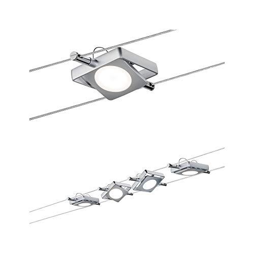Paulmann LED Togo corda System, Faretto da soffitto 4 luci Set completo, Rotonda Lampada Da Soffitto - Ideale per l' illuminazione dell' Ufficio & Cucina Illuminazione, colore: Cromo, argento