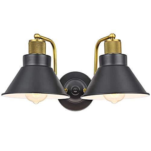 Pauwer - Applique da parete vintage, con gabbia in fil di ferro, stile retrò (lampada da parete a 2 luce)