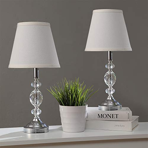 Pauwer Lampada da tavolo moderna in cristallo trasparente con 2 camere da letto, soggiorno, comodino, lampada da tavolo cromata, con paralume in tessuto