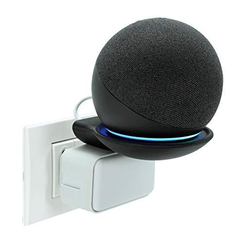 PB DESIGN Supporto a Muro a Parete per Echo Dot 4, Made in Italy Ecosostenibile, Montaggio con presa elettrica senza colle o viti, pratico vano raccoglicavo, Per tutte le prese di corrente