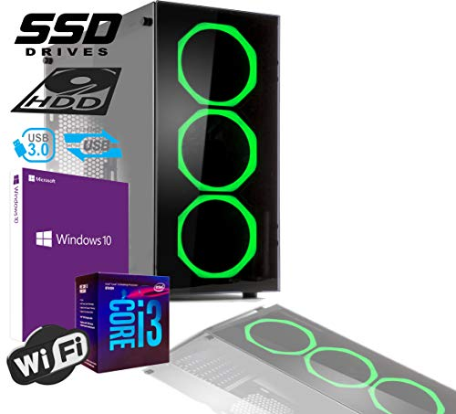 PC DESKTOP GAMING INTEL QUAD CORE I3-8100 UP TO 3,6 GHZ/CASE IN VETRO MYKA CRISTAL SMERALD CON 3 VENTOLE HALO VERDE/MB HDMI VGA DVI/RAM 8GB DDR4/SSD M2 256GB +HD 500GB/WIFI 300MB/WINDOWS 10 PRO