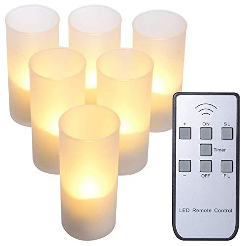 PChero Candele a LED Senza Fiamma con Telecomando, USB Ricaricabili Candele per Esterno