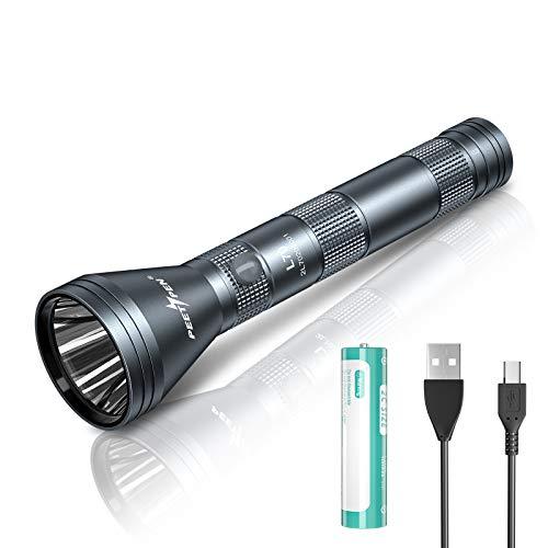 PEETPEN L70 Torcia a LED ad alta potenza - Luce ad alto lumen più brillante Potenti torce ricaricabili da campeggio e per attrezzi di emergenza Batteria 2C 18650 inclusa