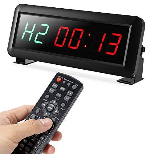 PELLOR Orologio da Parete Palestra Gym Timer, 6 Digits Orologio a Interval LED, Formato Orario 12/24 Ore, Cronometro Timer,Palestra Crosstraining Orologio con Telecomando (Volume Regolabile)