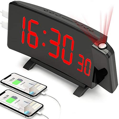 """PEYOU Sveglia con Proiettore, Sveglia Digitale, [2020 Nuovo] Sveglia da Comodino con 2 Porte USB, 7"""" Display LED, 5 Luminosità, Doppio Allarme, Funzione Snooze, Sleep Timer, 12/24 H"""
