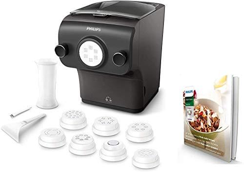 Philips HR2382/15 Avance Collection Macchina per Preparare Pasta Fresca con Bilancia Integrata, Programmi Automatici, 8 Trafile per Pasta, 200 W, Nero