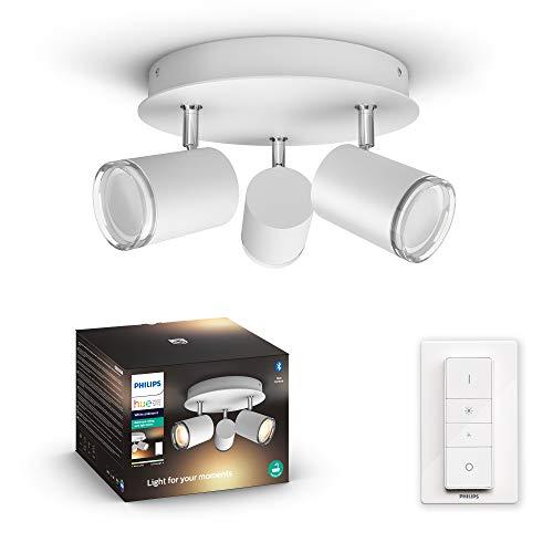 Philips Hue White Ambiance Adore 3 Faretti da Bagno Smart Inclusi, con Bluetooth, Base Rotonda, Attacco GU10, 5.5 W, Bianco, Telecomando Dimmer Switch Incluso