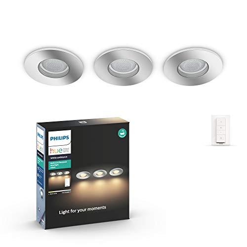 Philips Hue White Ambiance Adore, 3 Faretti Incasso Smart per il Bagno, Cromati, da Luce Fredda a Calda, LED Integrato, con Telecomando Dimmer Switch