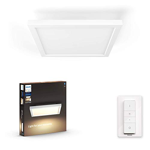 Philips Hue White Ambiance Aurelle Plafoniera LED Smart, Bluetooth, Quadrata, Telecomando Dimmer Switch Integrato 24.5 W, Bianco