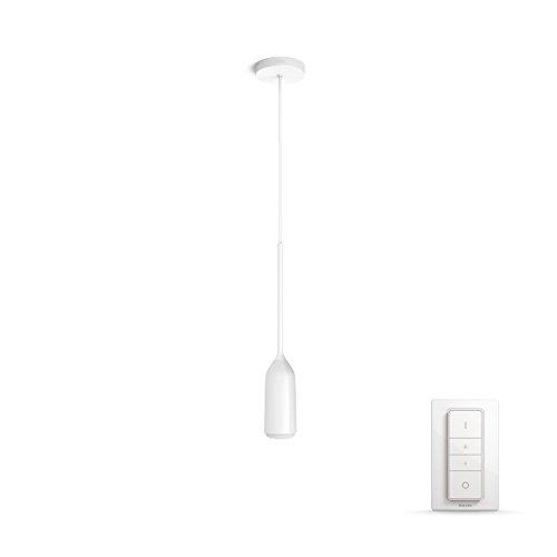 Philips Hue White Ambiance Devote Lampada a Sospensione, Illuminazione Smart, Bianco, E27, 60 W, con Telecomando Dimmer Switch