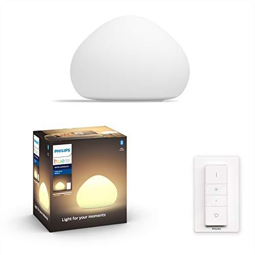 Philips Hue White Ambiance Wellner Lampada da Tavolo Smart, Bianca, con Bluetooth, Lampadina Inclusa E27, 15W, Luce da Calda a Fredda, Telecomando Dimmer Switch Incluso