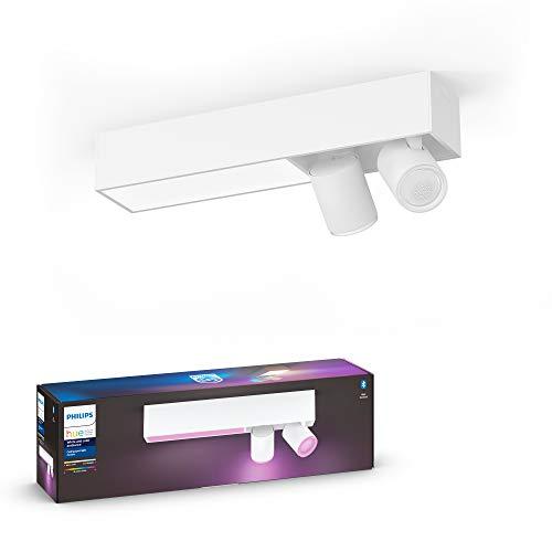 Philips Hue White And Color Centris Plafoniera Smart LED Integrato e 2 Faretti Orientabili Inclusi, con Bluetooth, Bianco