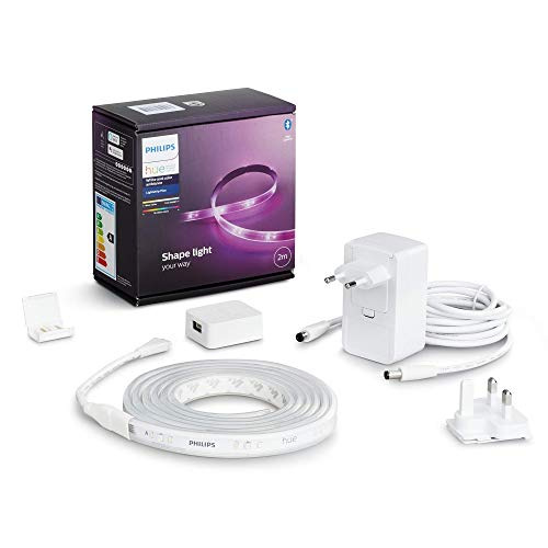 Philips Hue White and Color Lightstrip, Kit base Striscia LED Smart da 2m, con Bluetooth, 1600 Lumen