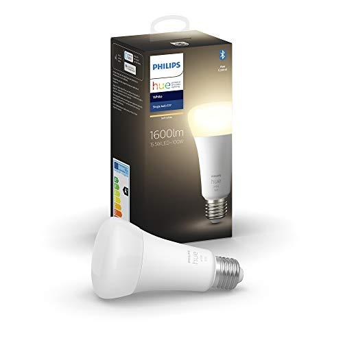 Philips Hue White Lampadina Smart, 15.5 W equivalente a 100 W, con Bluetooth, Luce Bianca Calda, Attacco E27