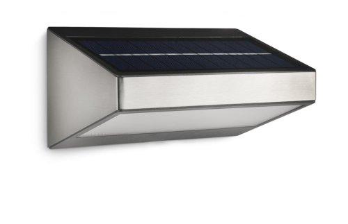 Philips Lighting 178104716 Greenhouse Lampada da Parete a LED per Esterni con Pannello Solare Integrato, Acciaio Inox